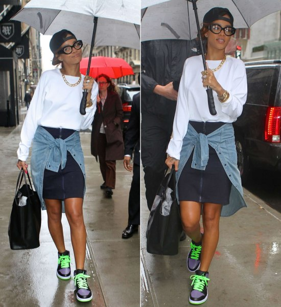 Rihanna in Rihanna for River Island zip front shirt skirt, Air Jordan Retro I joker sneakers, Givenchy Virgin Mary shopper tote