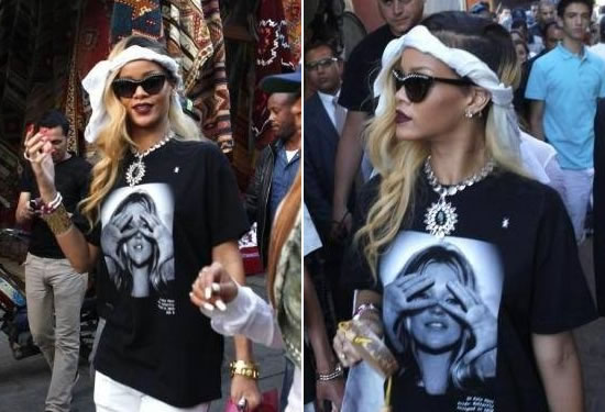 Rihanna in Prada crystal-encrusted sunglasses, Prada crystal necklace, Hype Means Nothing Kate Moss t-shirt