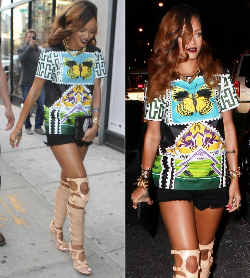 Rihanna in Mary Katrantzou teleport tunic, Siwy Camilla cutoff shorts, Tom Ford nude strappy boots, Givenchy Virgin Mary clutch, Jennifer Fisher jewelry