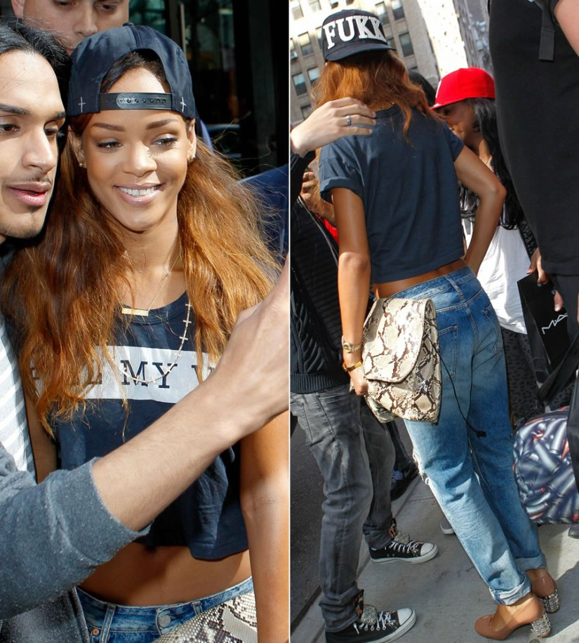 Rihanna in Lovers and Friends Feel My Vibe cropped tee, Acne distressed jeans, Miu Miu crystal heel pumps, fresh.i.am fukk snapback, Jennifer Meyer nameplate necklace