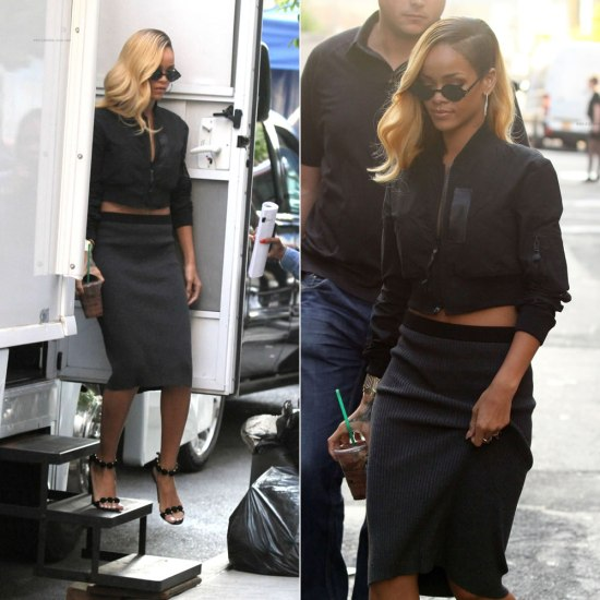 Rihanna in Mykita by Alexandre Herchcovitch cutaway sunglasses, Regulation by Yohji Yamamoto sheer back cropped jacket and Azzedine Alaia suede sandals