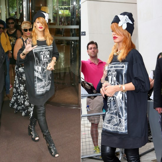 Rihanna in Kokon To Zai la roue de fortune tarot card shirt, Rihanna for River Island cut-out boots, Silver Spoon Attire bandana beanie, Jennifer Fisher Jewelry cuffs and rings