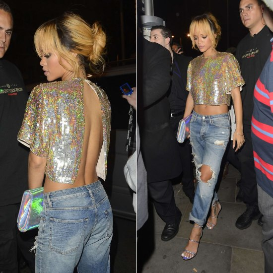Rihanna in Acne distressed boyfriend jeans, Manolo Blahnik iridescent sandals, Stella McCartney iridescent clutch
