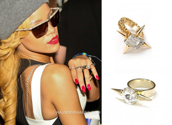 Rihanna in Fallon Classique crystal spike rings