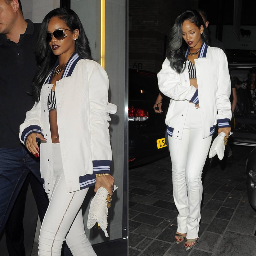 Rihanna in Roberto Cavalli serpent sunglasses, textured white jacket, striped pant and SS2013 python sandals