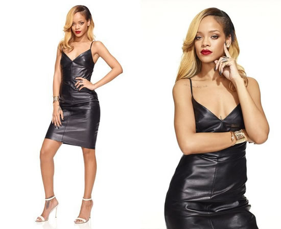 Rihanna in Valentino camisole leather dress, Manolo Blahnik Chaos sandals, Jennifer Fisher Jewelry