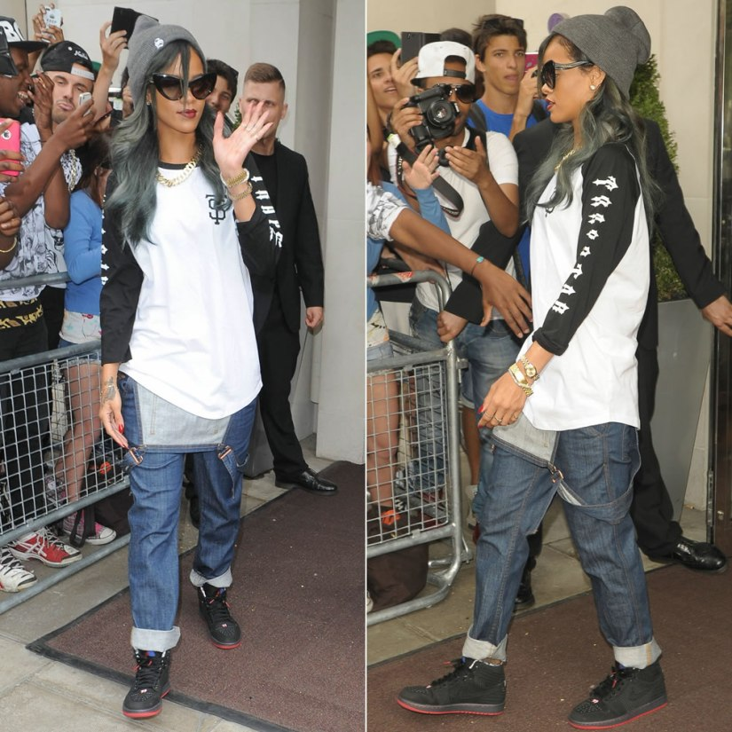 Rihanna in Trapstar black/white raglan shirt, Superbia grey S beanie, Roberto Cavalli cat-eye sunglasses, Air Jordan 1 Retro 93 sneakers