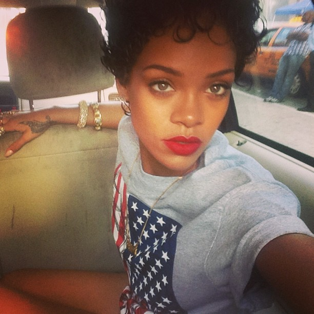 Rihanna wearing 10 Deep My Country Flag american flag t-shirt