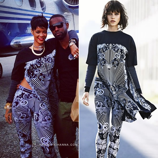 Rihanna in Rihanna for River Island Fall/Winter 2013 printed top and printed leggings