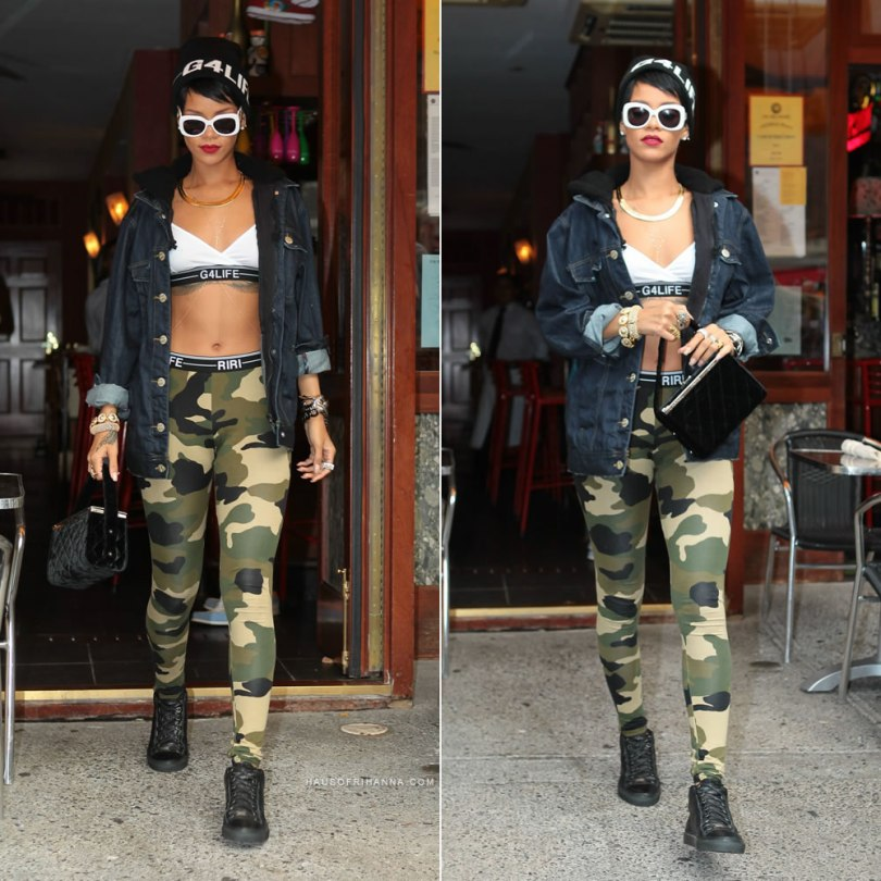 Rihanna in New York wearing Rihanna for River Island beanie, hooded denim jacket, white bra, camouflage leggings