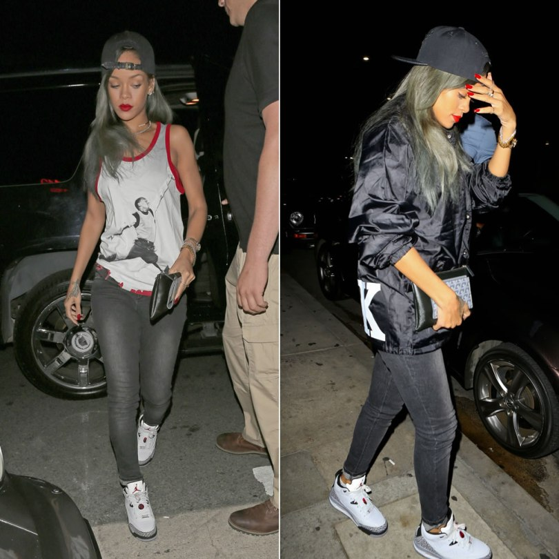Rihanna in Just Don M&N Chicago cap with python brim, Jordan 1 Poster tank, Jennifer Fisher Jewelry open diamond choker, Rihanna for River Island black wash skinny jeans, Jordan Son of Mars low sneakers, fresh.i.am fukk jacket