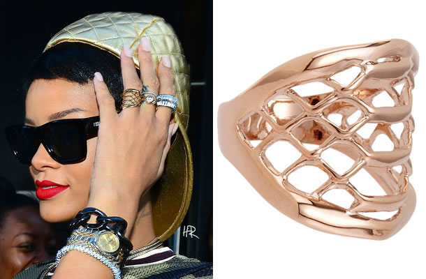 Rihanna wearing Dominic Jones rose gold kraken ring