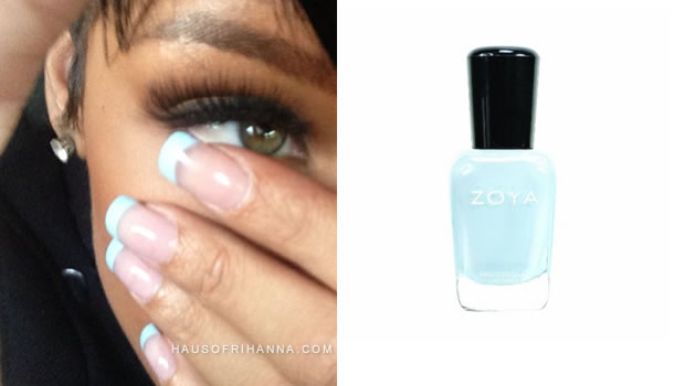 Rihanna's blue french manicure