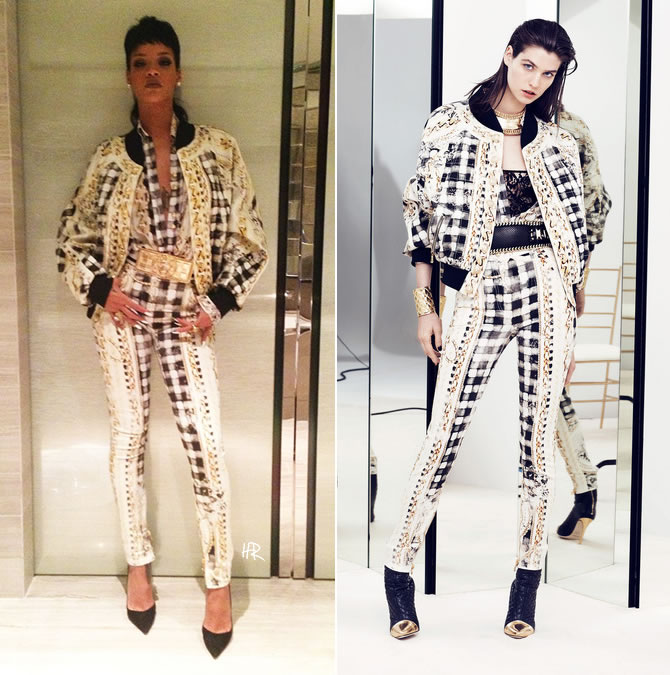 Rihanna wearing Balmain Resort 2014 outfit