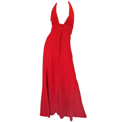 Ossie Clark vintage button front halter dress