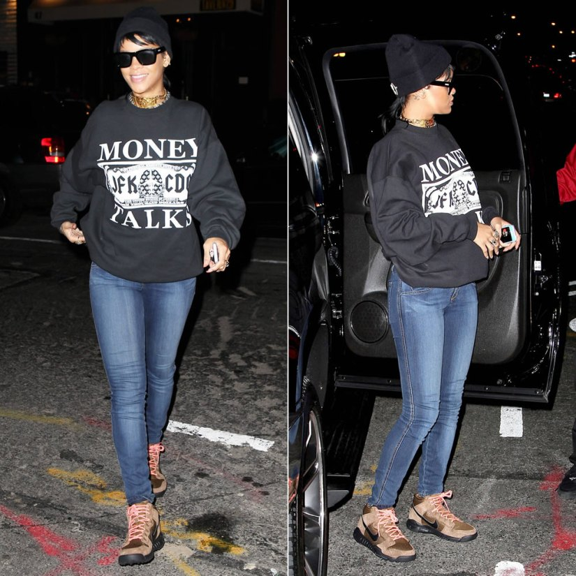 Rihanna wearing Spye x ShicNYC Money Talks sweatshirt, Silver Spoon Attire beanie and Nike sneakers