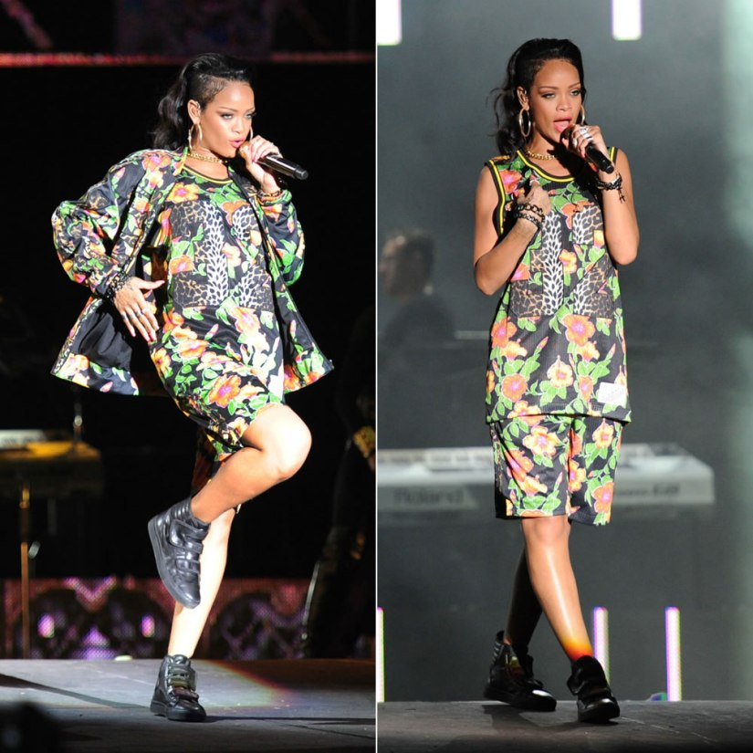 Rihanna performs in the Dominican Republic wearing adidas Originals by Jeremy Scott floral and leopard jersey and shorts