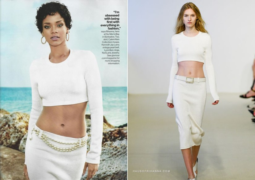 Rihanna wears Calvin Klein resort 2014 in Glamour November 2013 magazine