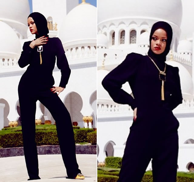 Rihanna in Stella McCartney black jumpsuit, Saint Laurent tassel necklace, Manolo Blahnik pumps