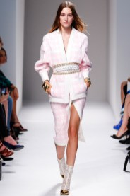 Balmain Spring/Summer 2014 pink and white houndstooth jacket and skirt