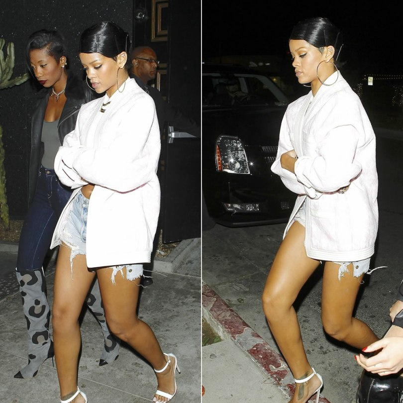 Rihanna in Balmain pink and white houndstooth jacket, Levi's cut off shorts, Manolo Blahnik white Chaos sandals, Fallon herringbone chain necklace