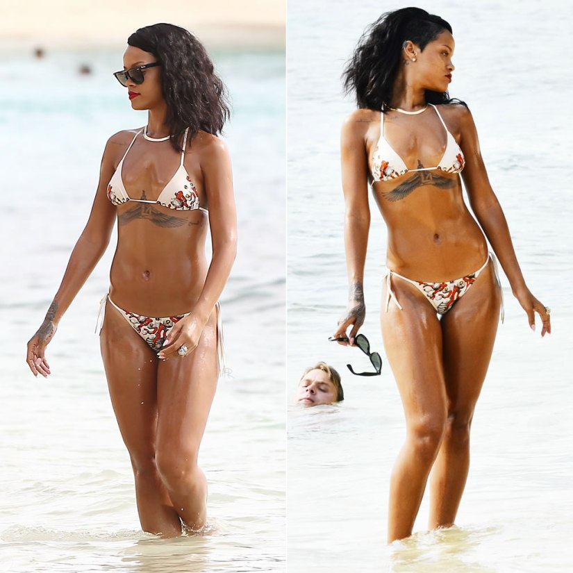Rihanna in Roberto Cavalli jewelry and sea shell print bikini