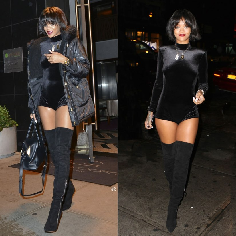 Rihanna in New York wearing Rihanna for River Island high shine parka jacket and velvet playsuit, Gianvito Rossi double zip thigh high boots, Balmain by Aurelie Bidermann Pierre handbag
