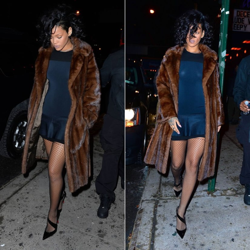Rihanna in Isabel Marant Adams peplum dress, House of Holland fishnet suspender tights, Christian Louboutin black patent Ograde pumps