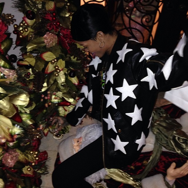 Rihanna in Joyrich All Star patched jacket