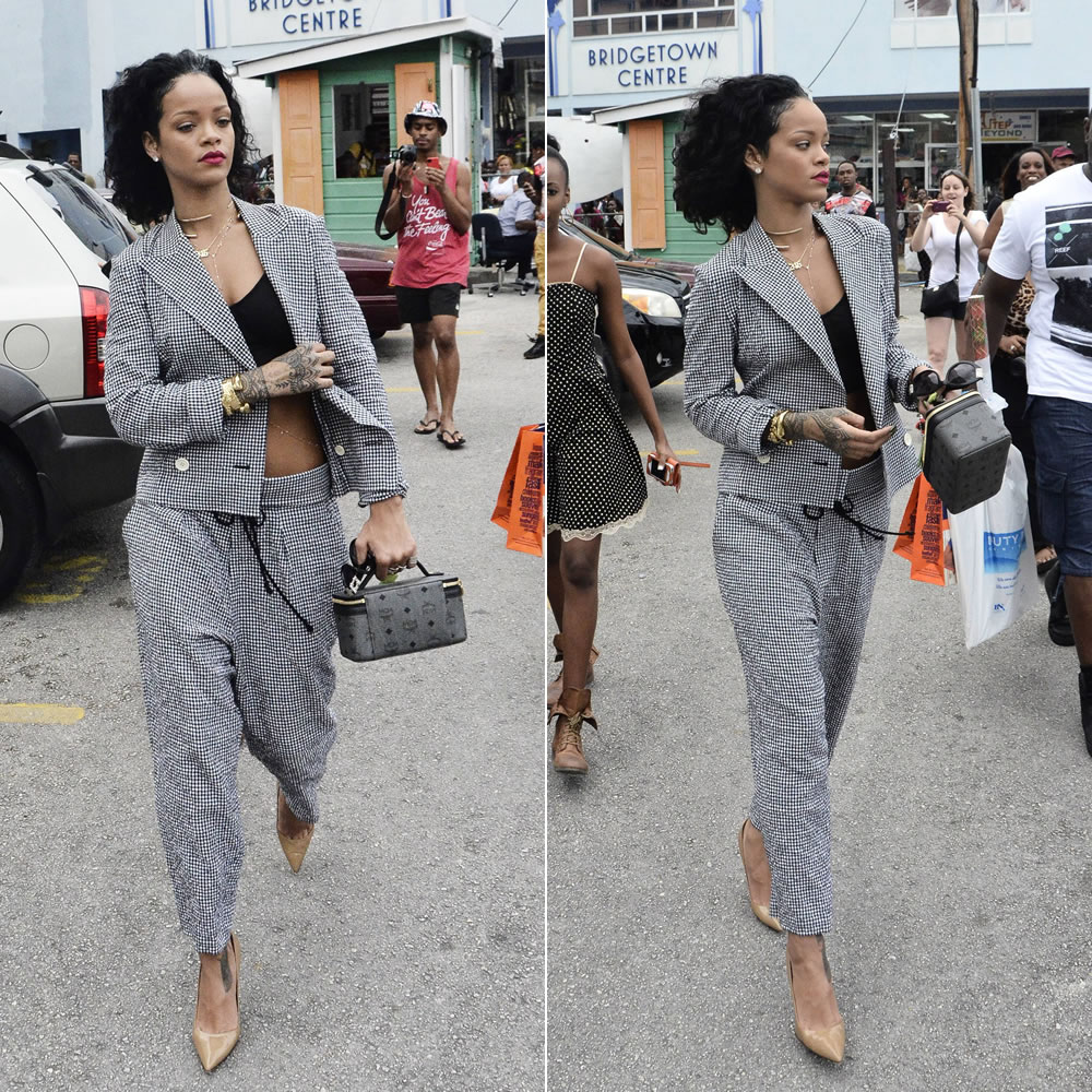 3d6fefe2a61 Rihanna hit up Cave Shepherd department store in Bridgetown to do a little  shopping before Christmas day. She wore a black and white gingham pantsuit  by ...