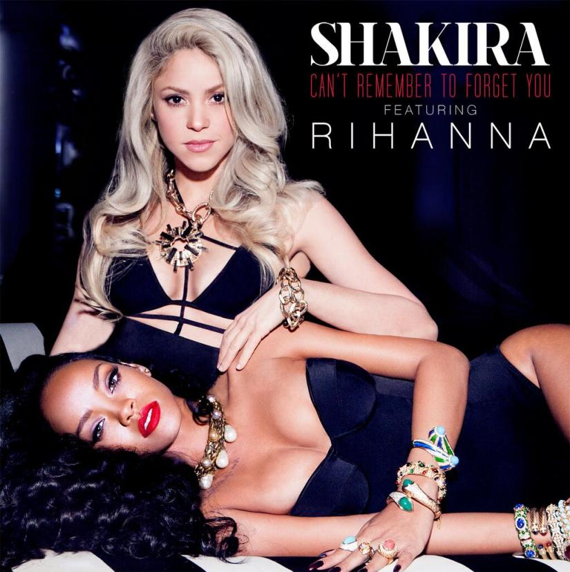 Rihanna wearing Norma Kamali Mio corset one-piece swimsuit on Shakira's Can't Remember to Forget You single cover
