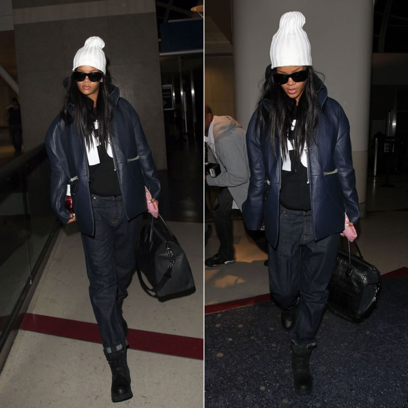 Rihanna wearing Chanel quilted sunglasses, Acne oversized blue leather jacket, Another Enemy F U hoodie, Marni cuffed boyfriend jeans, Timberland Earthkeepers boots, Givenchy croc-embossed Antigona tote