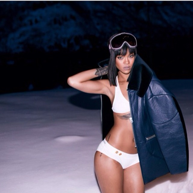 Rihanna wearing Acne Studios blue leather and velvet jacket, Charlie by Matthew Zink white Joey boyshort bikini