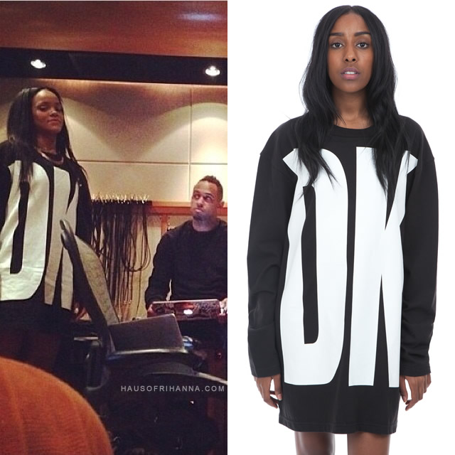 Rihanna wearing DKNY for Opening Ceremony black Spring 92 long-sleeved t-shirt