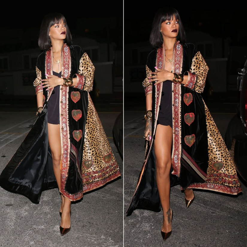 Rihanna wearing vintage Moschino leopard kaftan coat. Christian Louboutin So Kate gold pumps, Balmain gold cuff bracelets