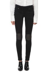 Pushbutton knee patch black jeans