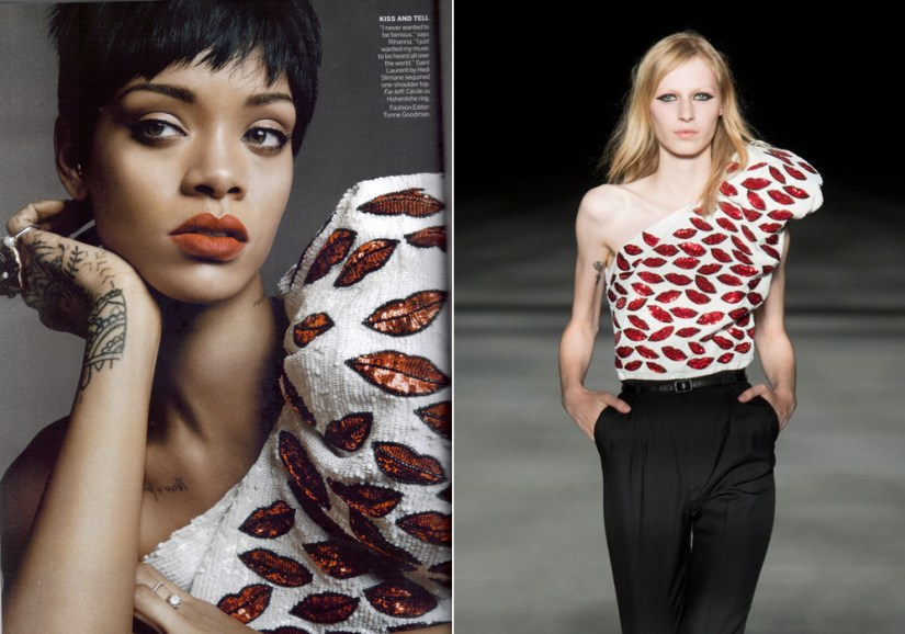 Rihanna wearing Saint Laurent Spring/Summer 2014 sequined top with red lips in Vogue March 2014