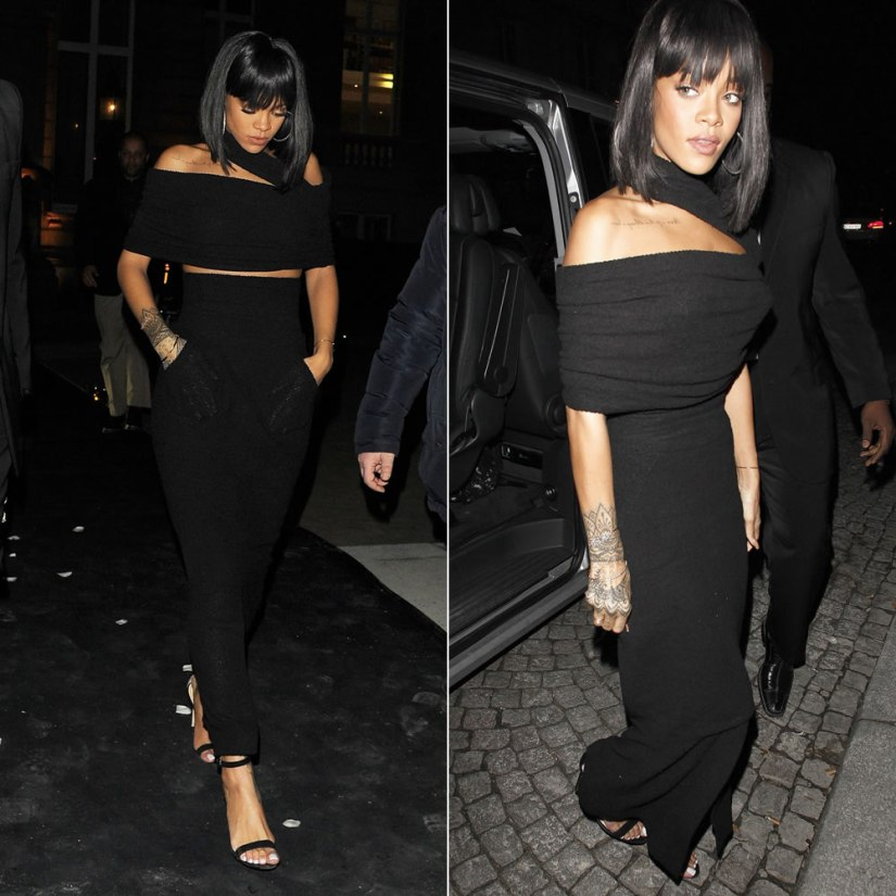Rihanna wearing Chanel Spring Summer 2014 black top and maxi skirt, Manolo Blahnik Chaos ankle strap sandals and Sabine G bracelet