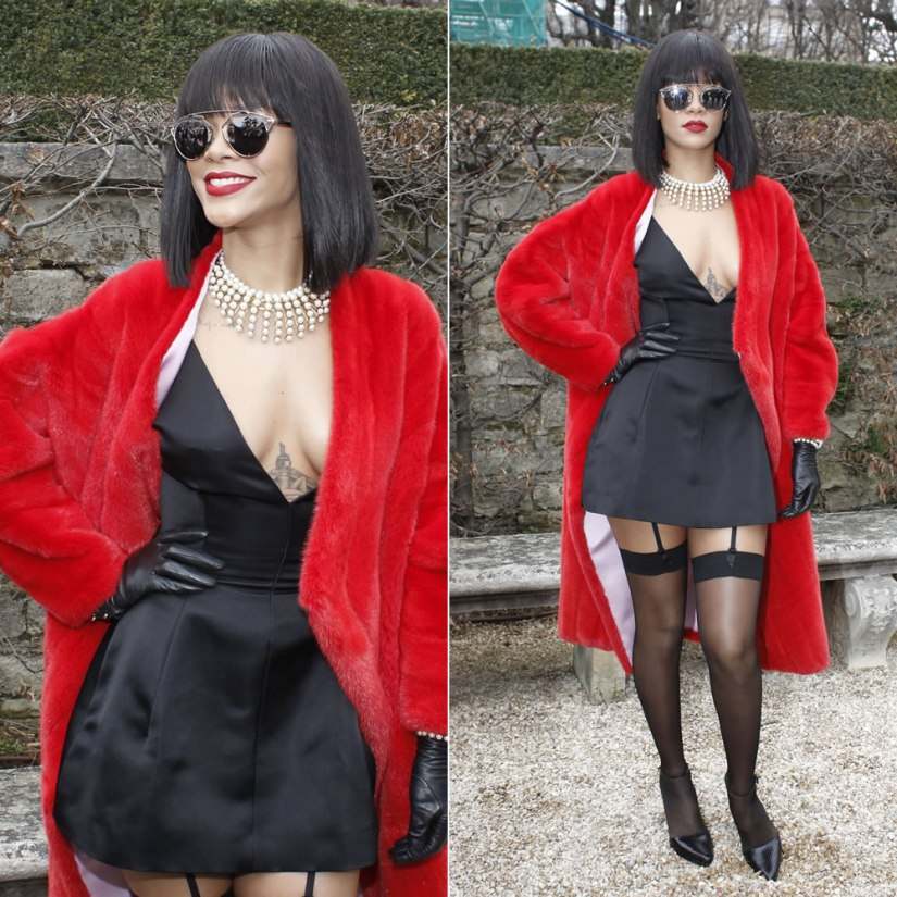 Rihanna at the Christian Dior Fall Winter 2014 show wearing Dior red fur coat, black silk dress and pearl necklace