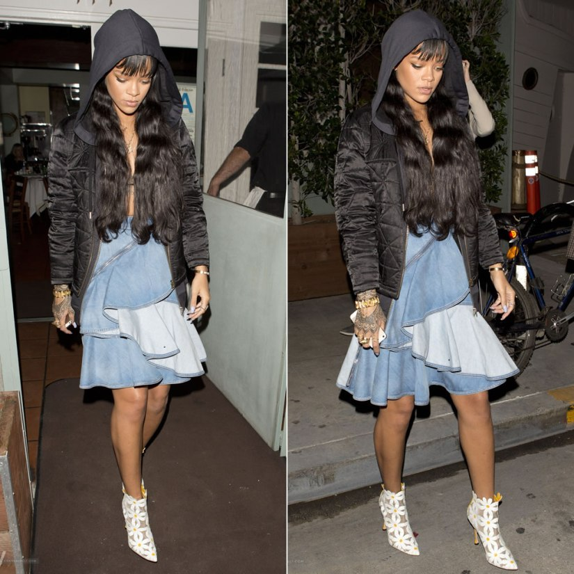 Rihanna wearing Etoile Isabel Marant quilted black jacket, Givenchy ruffled denim zip skirt, Manolo Blahnik Margolotta daisy ankle boots, Campise gun necklace