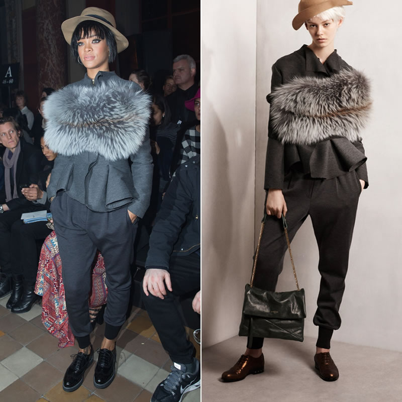 Rihanna at the Lanvin Fall Winter 2014 show in Lanvin fedora hat, fur stole, draped jacket and tailored sweatpants and brogues with Lizzie Mandler jewelry