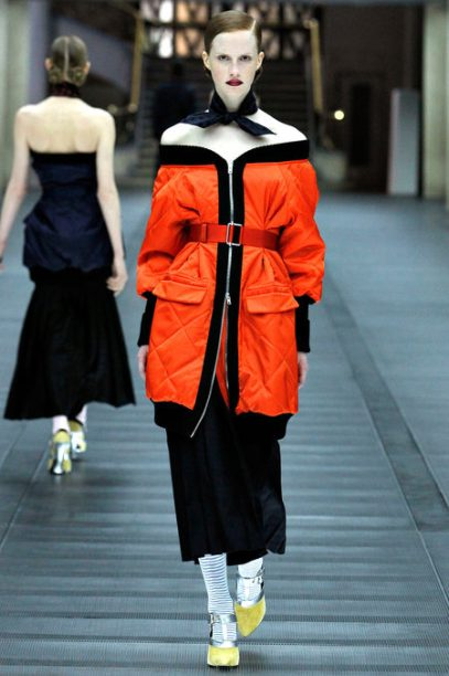 Miu Miu Fall Winter 2013 orange quilted jacket