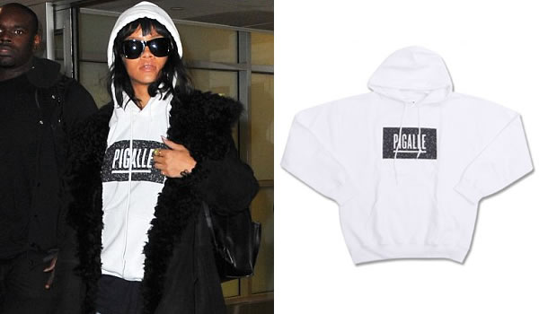 Rihanna wearing Pigalle white hoodie