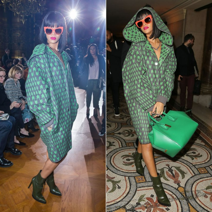 Rihanna at Stella McCartney Fall Winter 2014 fashion show wearing Stella McCartney coat, dress, orange sunglasses, green boots, green handbag, Le Vian snake rings, Sabine G double ring, Stone Tess ring