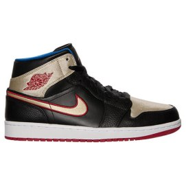 Air Jordan 1 mid sneakers in black/gym red/metallic gold