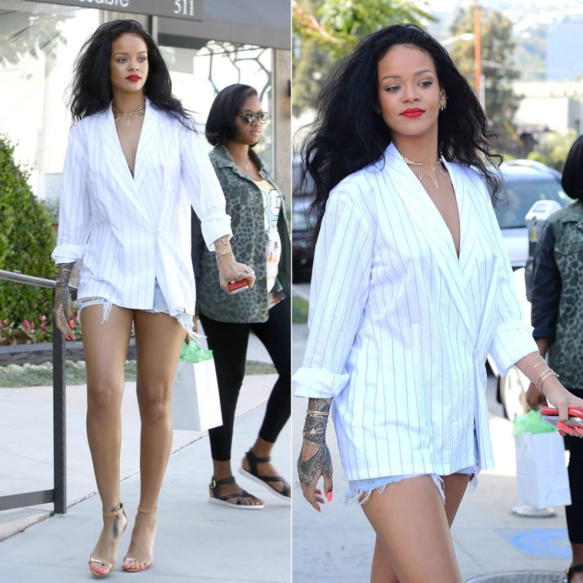 Rihanna wearing Manolo Blahnik nude Chaos sandals and Jacquie Aiche ear jacket, bracelets, cuffs and rings