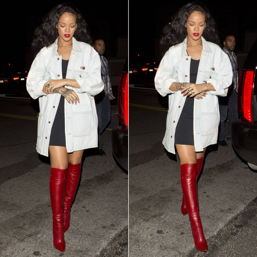 Rihanna wearing Cross Colours denim jacket, Christian Louboutin red Armurabotta boots, Jacquie Aiche jewelry
