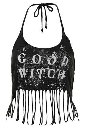 Black Moon Good Witch Bad Bitch halter top Topshop as seen on Rihanna