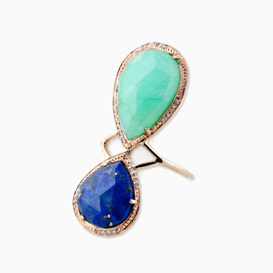 Jacquie Aiche teardrop ring in Lapis/Chrysoprase