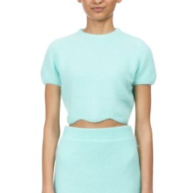 Kiko Mizuhara mint green scalloped hem cropped top and mini skirt